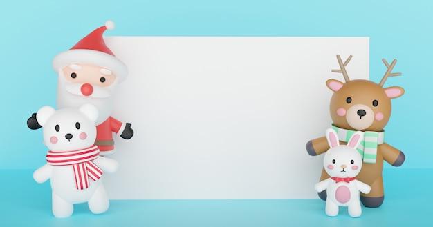 Счастливого рождества, рождественские праздники с дедом морозом и друзьями с пространством для текста. 3d-рендеринг.