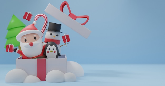 Merry christmas, christmas celebrations with santa clause, penguin, snowman for christmas card