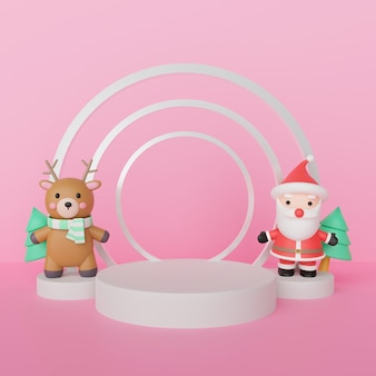 Merry christmas ,  christmas celebrations with santa clause and reindeer with podium for a product  . 3d rendering .