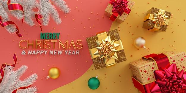 메리 크리스마스 구성 평면 황금 선물과 분홍색과 노란색에 여러 가지 빛깔의 공 누워