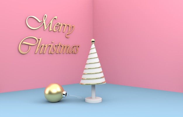Merry christmas composition with christmas tree and golden bauble