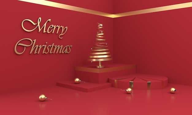 Merry christmas composition with golden christmas tree and ornaments