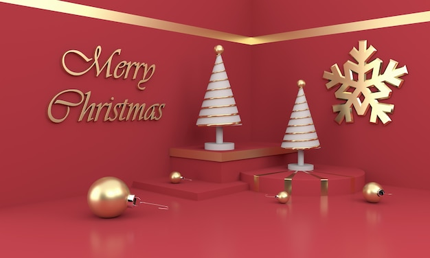 Merry christmas composition with white christmas trees and ornaments