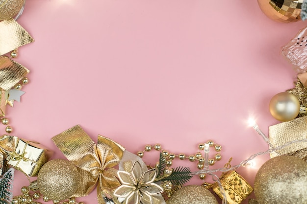 Merry christmas concept, winter holidays and happy new year card gold decoration