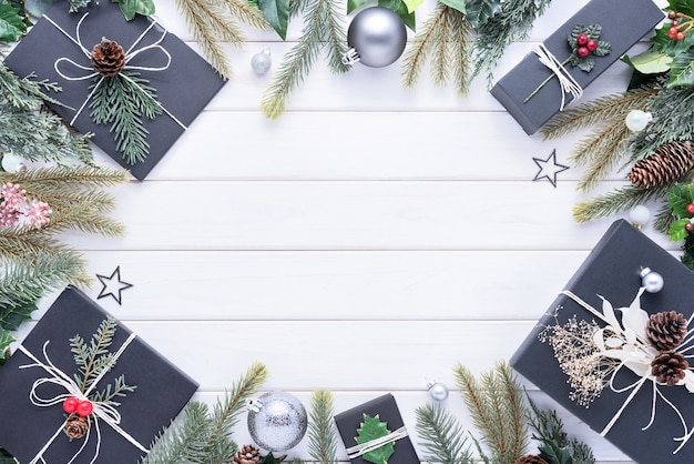 Merry christmas concept with other decoration for celebration on white wood background