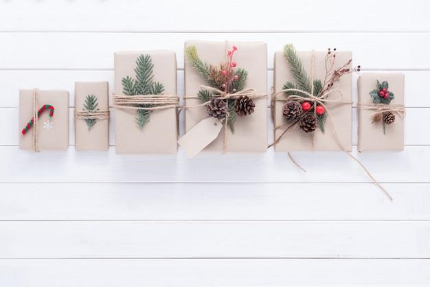 Merry christmas decoration for celebration on white wood background