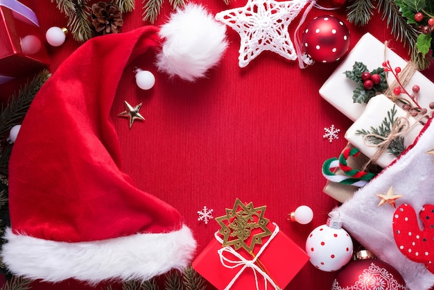Merry christmas decoration on red cloth