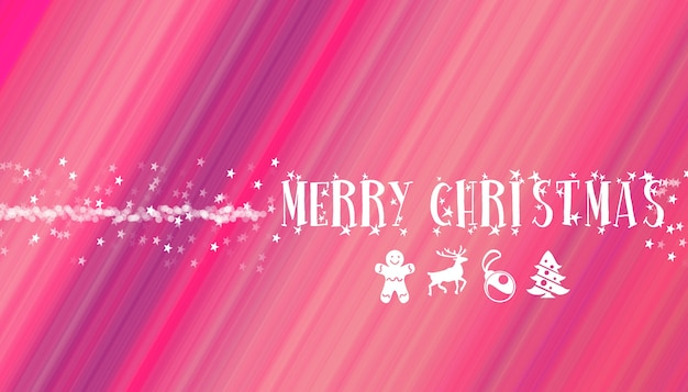 Merry christmas decoration typographical letters with stars and lights