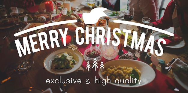Merry christmas feast food gathering