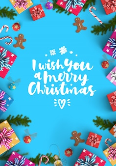 Merry christmas and gift box background
