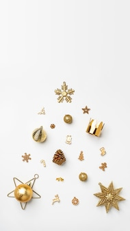 Merry christmas gold shiny text with luxury xmas decoration items on white table.happy new year
