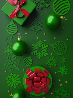 Merry christmas green card 3d gold decoration