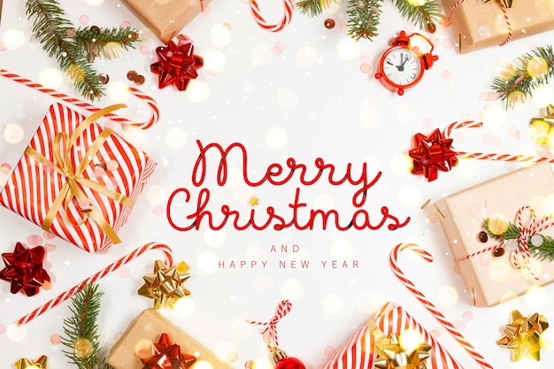 Merry christmas greeting card with gifts boxes