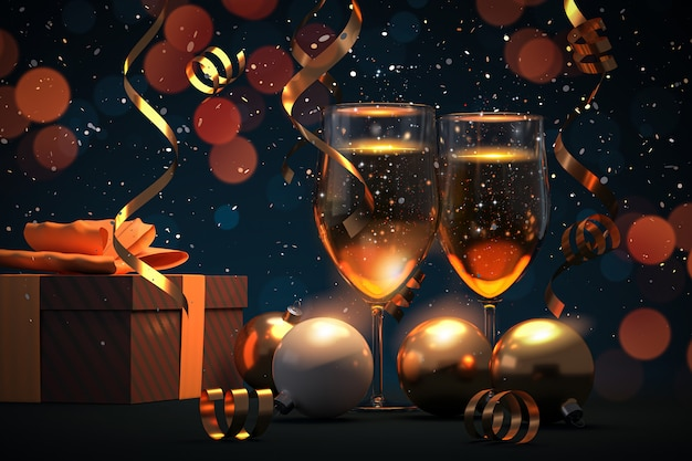 Merry christmas and happy new year - 3d illustration
