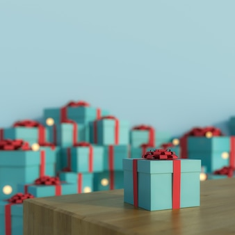 Merry christmas and happy new year background and plain floor with gift box 3d rendering