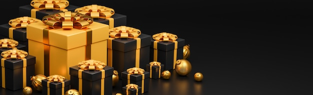 Merry christmas and happy new year banner luxury style., realistic gold and black gifts box with golden christmas balls