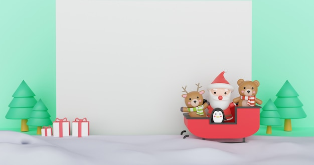 Merry christmas and happy new year composition with cute santa claus with presents