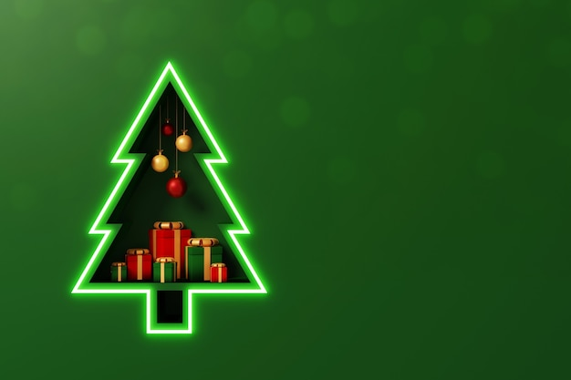 Merry christmas and happy new year concept background shelf christmas tree shape with gift box