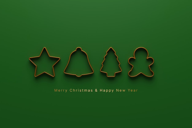 Merry christmas and happy new year concept icon christmas ornament on green background