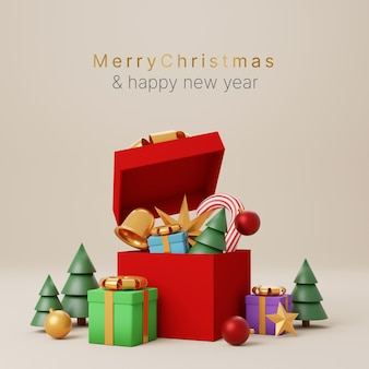 Merry christmas and happy new year concept open gift box with decorate ornament christmas