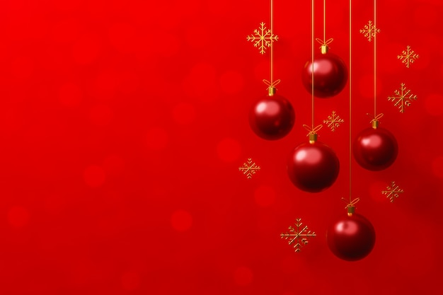 Merry christmas and happy new year concept red christmas ball bauble decoration hanging