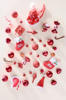 Merry christmas and happy new year concept with celebration balls red color other decoration