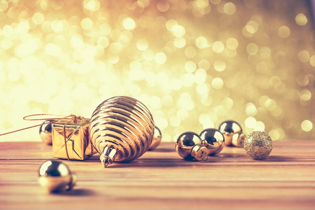 Merry christmas and happy new year concept with gold color other decoration