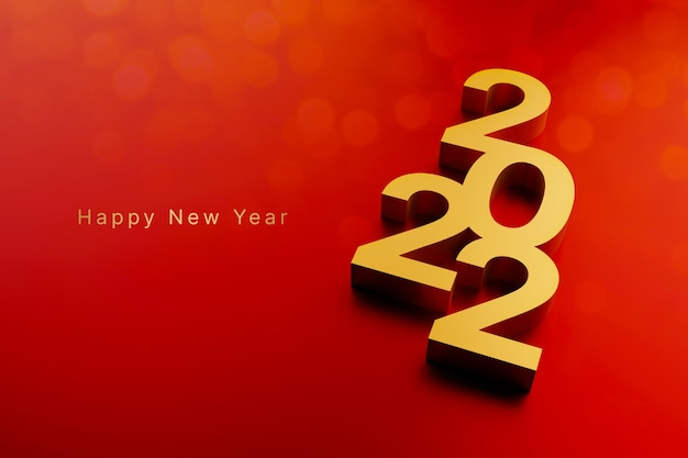 Merry christmas and happy new year countdown to 2022 concept year 2022 on red background
