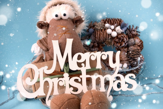 Merry christmas and happy new year greeting card.