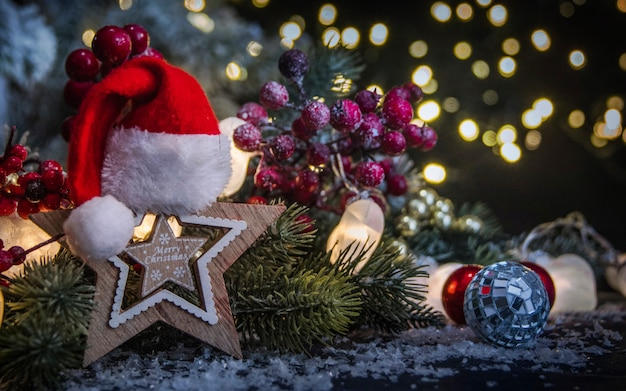 Merry christmas and happy new year, holidays greeting card with blurred bokeh background
