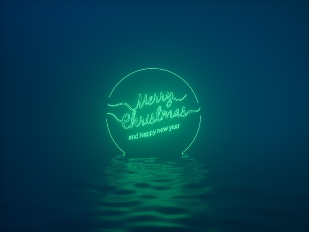 Merry christmas and happy new year neon text background