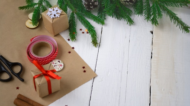 Merry christmas and happy new year, packaging gifts, handmade