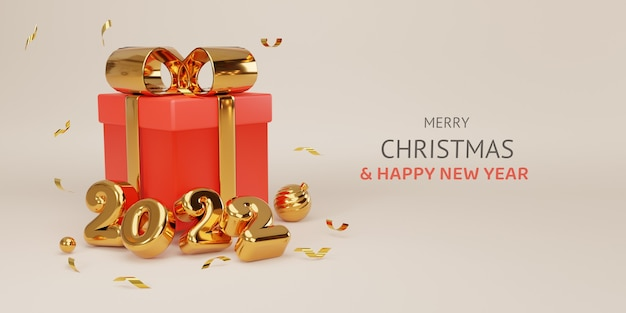 Merry christmas and happy new year realistic design of gold 2022 year and close red gift boxes with decorative golden bow glitters and balls by 3d rendering technique concept.