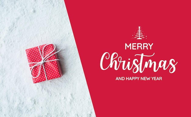 Merry christmas and happy new year text with gift box,present