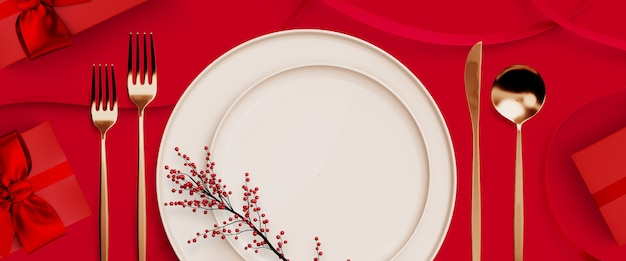 Merry christmas, happy new year and valentine's day . red gift box and tableware on red . 3d rendering illustration.