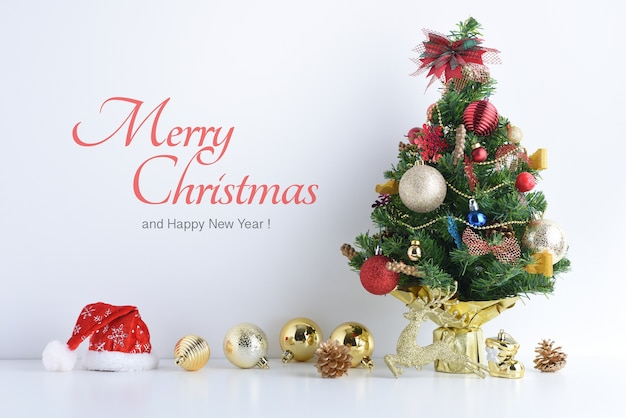 Merry christmas and happy new year with celebration balls and other decoration.