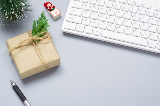 Merry christmas and happy new years office work space desktop