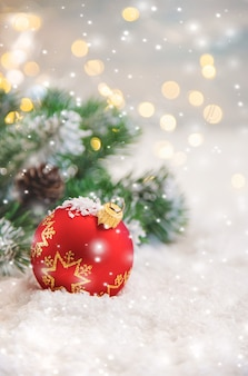 Merry christmas holidays greeting card background. selective focus. nature.
