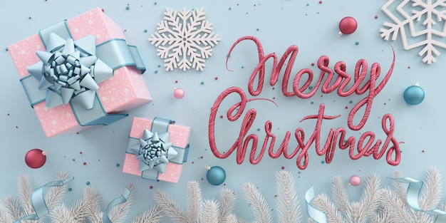파스텔 라일락 색상의 선물 상자 눈송이 분기와 장식 메리 크리스마스 일러스트 플랫 누워 카드 프리미엄 사진