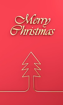 Merry christmas inscription and golden abstract christmas tree