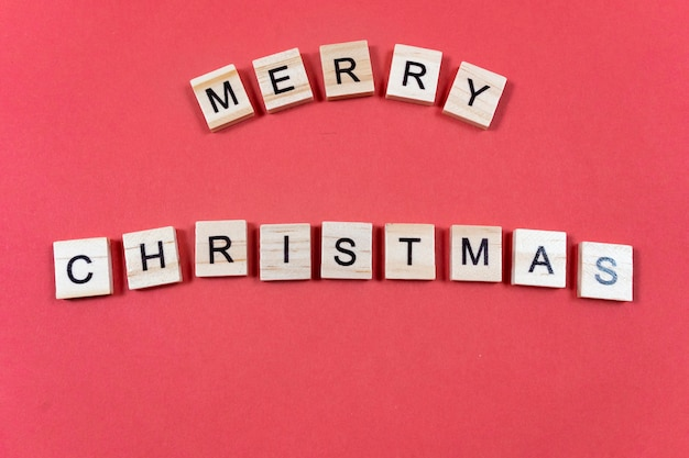Merry christmas inscription on red