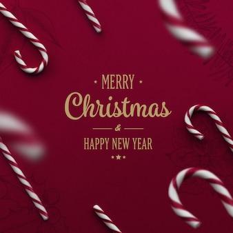 Merry christmas lettering on festive background