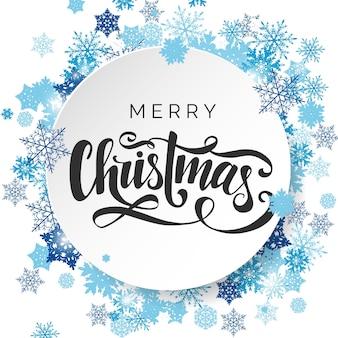 Merry christmas lettering inscription handwritten christmas banner