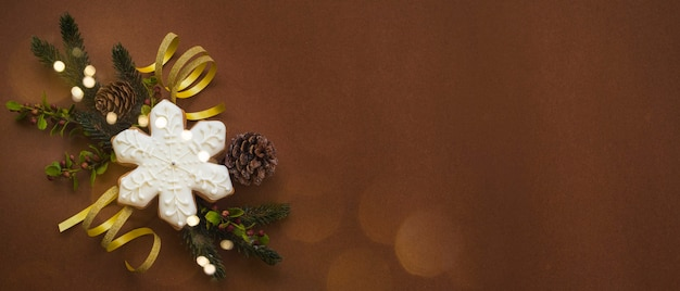 Merry christmas and new year holidays background, christmas homemade gingerbread cookies.