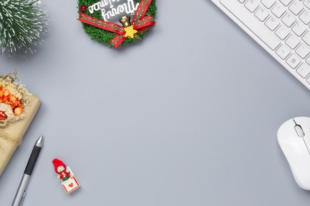 Merry christmas office work space desktop