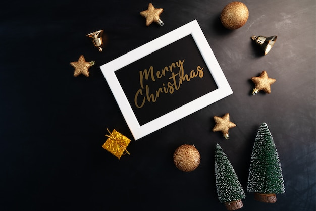 Merry christmas in photo frame with christmas decoration