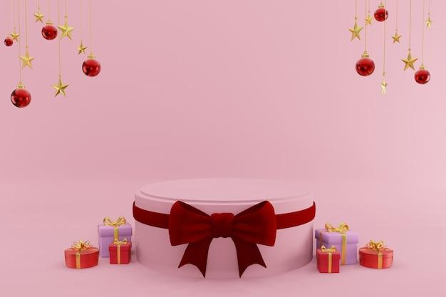 С рождеством христовым подиумы с производственным фоном 3d-рендеринга