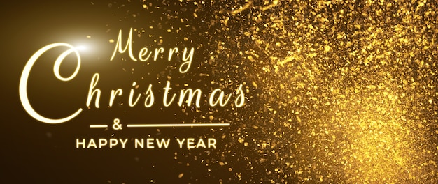 Merry christmas postcard banner, decorations on black background
