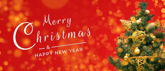 Merry christmas postcard banner, decorations on red background