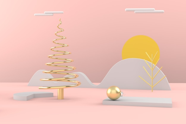Merry christmas postcard . christmas golden tree . 3d rendering .